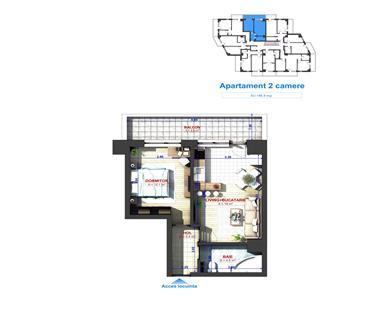 Apartament Nou 2 camere  de vanzare  Bucium