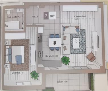 Apartament Nou 2 camere  de vanzare  Tg Cucu  Podul de Fier