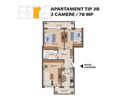 apartament nou 3 camere  de vanzare  c.u.g. Iasi
