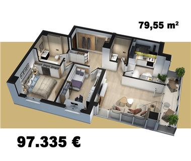 Apartament Nou 3 camere  de vanzare  Tudor Vladimirescu